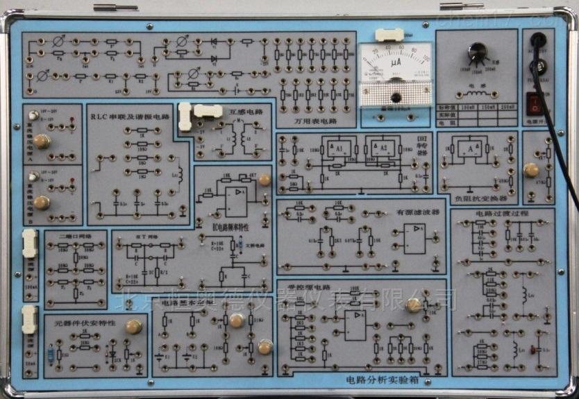电路分析实验箱 型号:HAD-TPE-DG2 HAD-TPE-DG2本产品基本含盖了电工(或电路)实验中常用的弱电类实验,可满足各类高、中等院校及职业技术院校的电工原理、电路分析等课程实验教学的需要。该机与DG1的主要区别在于实验内容采用模块化设计,每个实验的电路连接已基本完成,学生不用花太多的时间接线,使学生有更多的时间用于实验的分析与测量。工艺采用先进的两用板工艺,正面印有原理图及符号,反面为印制导线并焊有相应元器件,结构紧凑、直观,使用方便、可靠,维修方便、简捷。 电路分析实验箱HAD-TPE-DG