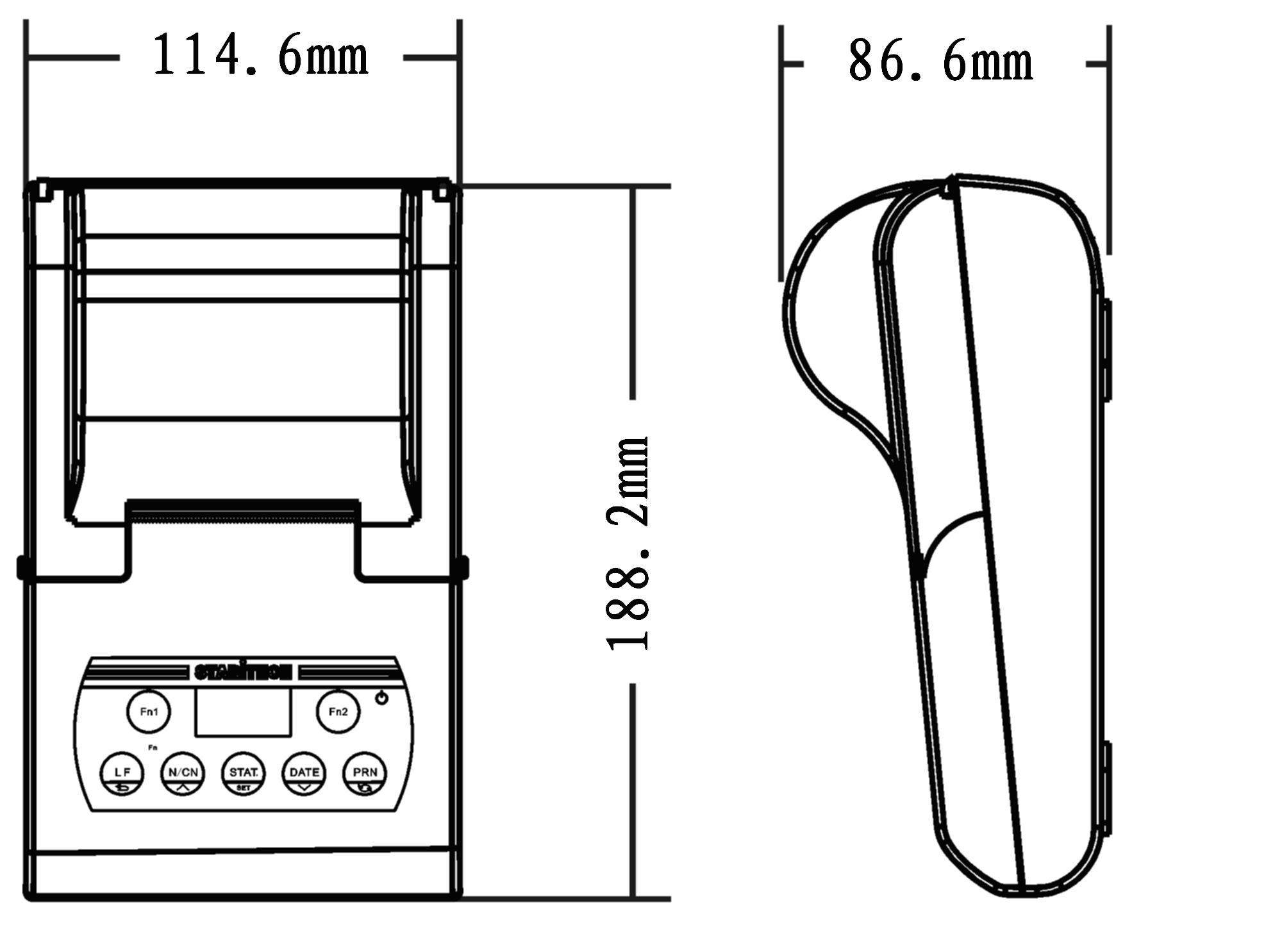 电子天平外接打印机尺寸图-上海本熙科技